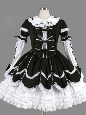 Black Bowknot Ruffles Gothic Lolita Long Sleeves Dress