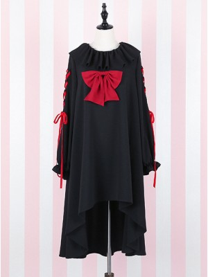 Black Bind Strap Bowknot Gothic Lolita Long Sleeve Dress