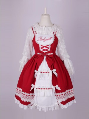 Cute Bowknot Pure Color Classic Lolita Sling Dress