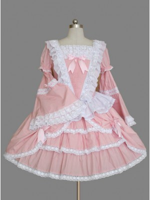 Pink Long Sleeve Lace Ruffles Classic Lolita Dress