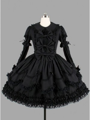 Black Elegant Bows Cotton Gothic Lolita Long Sleeve Dress