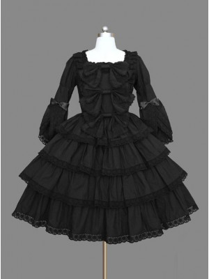 Black Multi-storey Lace Cotton Gothic Lolita Dress