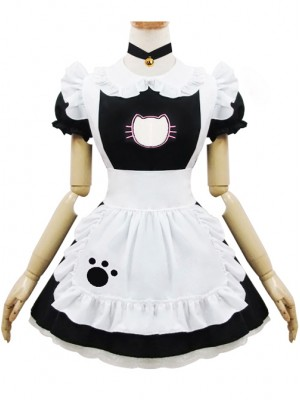 Embroidered Sexy Little Cat Maid Short Sleeve Costume