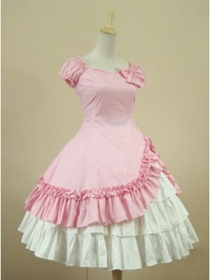 Cotton Short Sleeves Ruffle Classic Lolita Dress