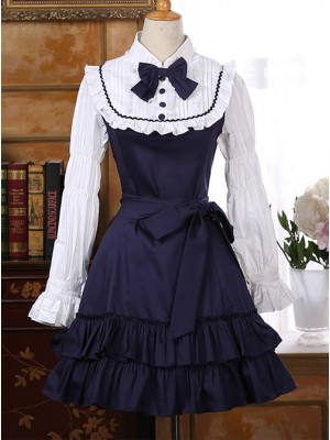 Classic Cotton Long Sleeves Ruffle Lolita Dress