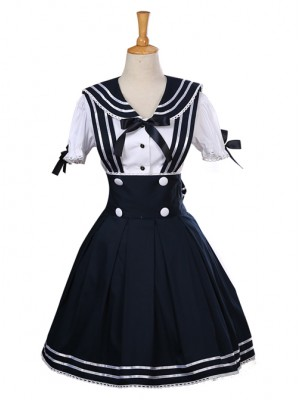 Navy Style Short Sleeve School Lolita Dress Set