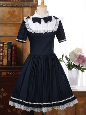 Navy Blue Elegant Short Sleeve Classic Sweet Lolita Dress