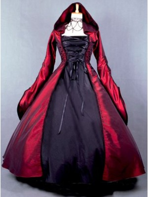 Palace Style Retro Gothic Lolita Prom Hooded Long Dress