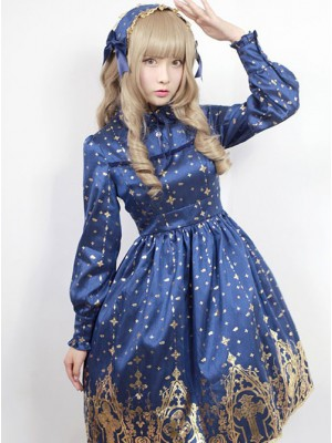 Neverland Lolita,Gold Stamping Cross, Lolita OP Dress