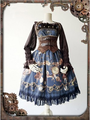 Dark Blue Mechanical Doll Bow Belt Dress
