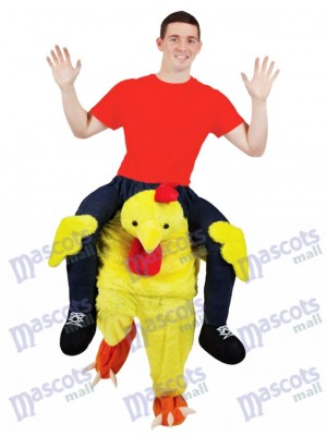 Carry Me Poussin de poulet jaune Piggy Back Costume de mascotte Ride On Me Déguisement drôle