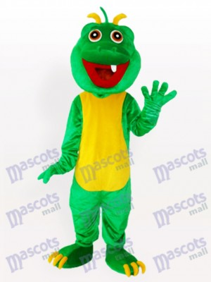 Costume de mascotte adulte Dinosaur Green One dents