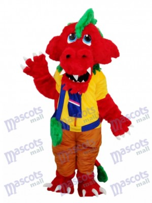 Dragon Rouge avec Sac Peluche Mascotte Costume Adulte Animal