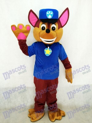 La Pat' Patrouill Paw Patrol Chase Chien Adulte Mascotte Costume Fantaisie Costume Cosplay