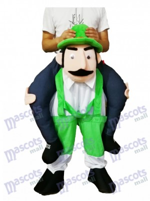 Piggyback barbu oncle Carry Me Ride vert survêtement homme mascotte Costume