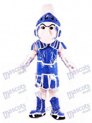 Costume de mascotte spartiate bleu chevalier spartiate Sparty