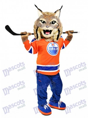 Hunter the Canadian Lynx Edmonton Oilers Chasseur Costume de mascotte Animal