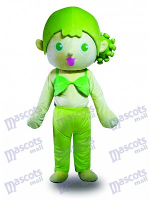 Costume de mascotte de cheveux verts fille Cartoon