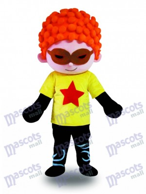 Costume de mascotte de Cool Boy Cool cheveux rouges