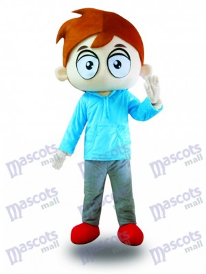 Blue Shirt Big Eyes Boy Costume de mascotte