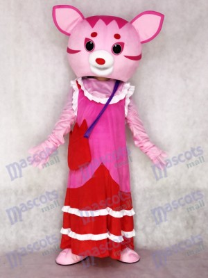 Costume de mascotte adulte fée chat rose