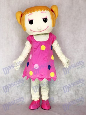 Cheveux solides fille en robe rose Costume de mascotte adulte