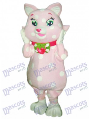 Chat rose Kitty avec des taches blanches mascotte Costume Animal Cartoon