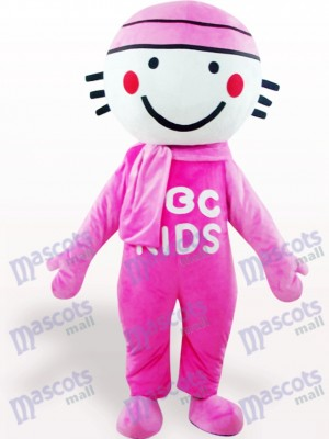 Costume de mascotte adulte de poupée ronde rose tête Cartoon