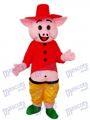 rouge Chapeau Cochon Mascotte Costume Adulte Animal
